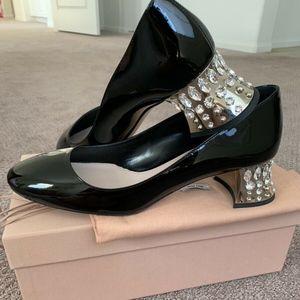 New Miu Miu Black Patent Leather Crystal Heel Pump